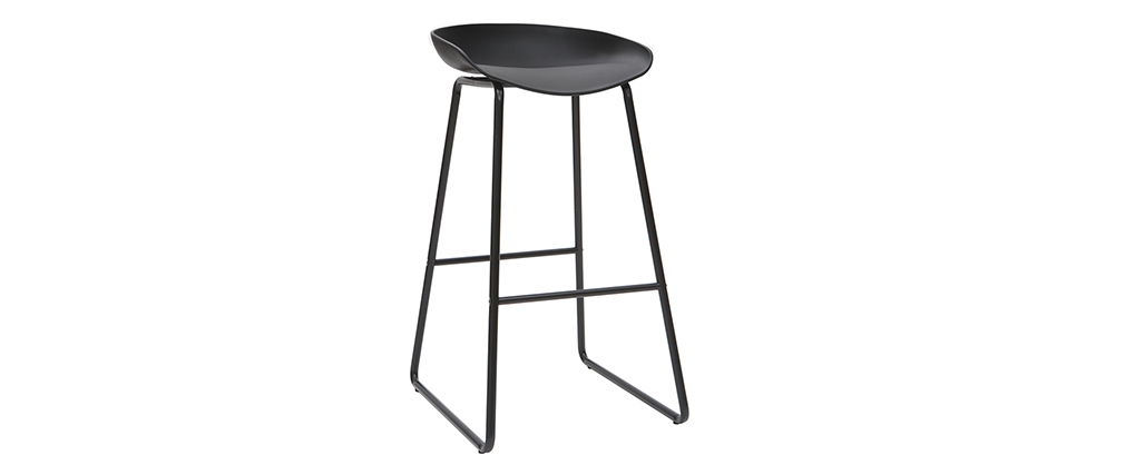 Sgabelli da bar design neri con piedi in metallo (set di 2) PEBBLE