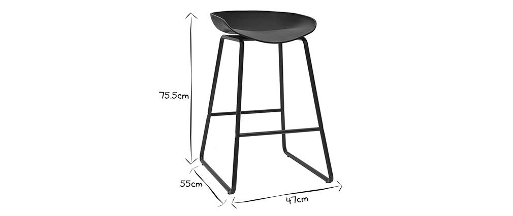 Sgabelli da bar design neri H65 cm (set di 2) PEBBLE