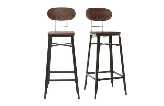 Sgabelli da bar in legno e metallo colore nero altezza cm