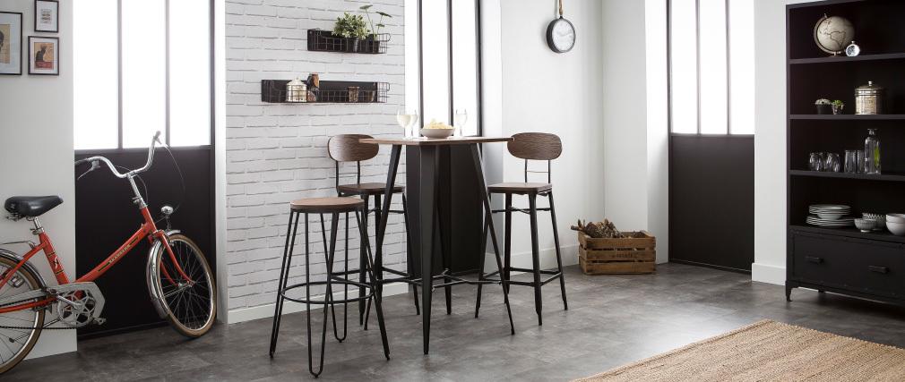 Sgabelli da bar in legno e metallo Nero altezza 75 cm lotto di 2 HOCKER