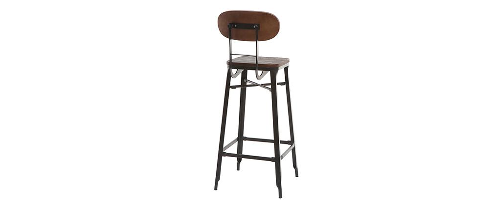 Sgabelli da bar in legno e metallo Nero altezza 75 cm set di 2 HOCKER