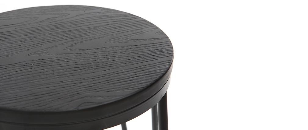 Sgabelli da bar in metallo Nero e in legno Nero 75 cm lotto di 2 IGLA