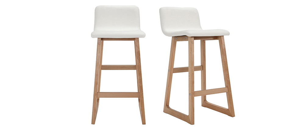 Sgabelli da bar legno chiaro e PU bianco set di 2 OSAKA