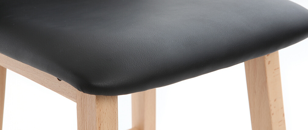 Sgabelli da bar legno chiaro e PU nero 65cm set di 2 OSAKA