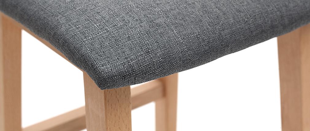 Sgabelli da bar legno chiaro e tessuto grigio gruppo di 2 OSAKA