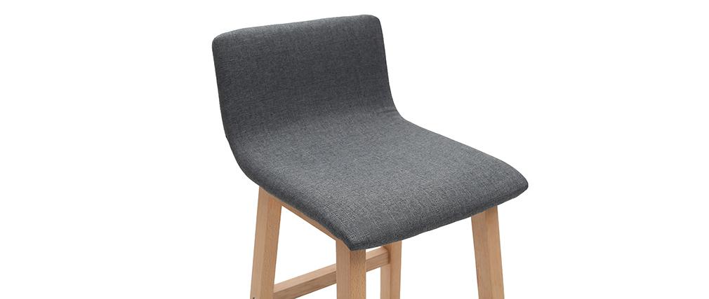 Sgabelli da bar legno chiaro e tessuto grigio set di 2 OSAKA