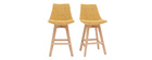 Sgabelli da bar scandinavi effetto velluto giallo senape 65 cm (set di 2) MATILDE