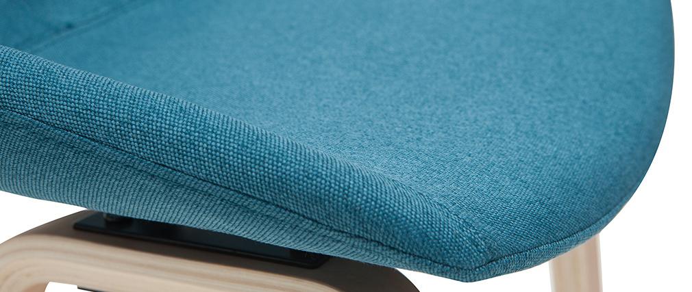 Sgabelli da bar tessuto foglia di tè e gambe in legno H65 cm (set di 2) LINO