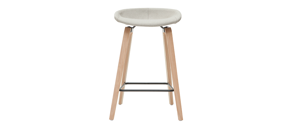 Sgabelli da bar tessuto grigio e gambe in legno H65 cm (set di 2) LINO