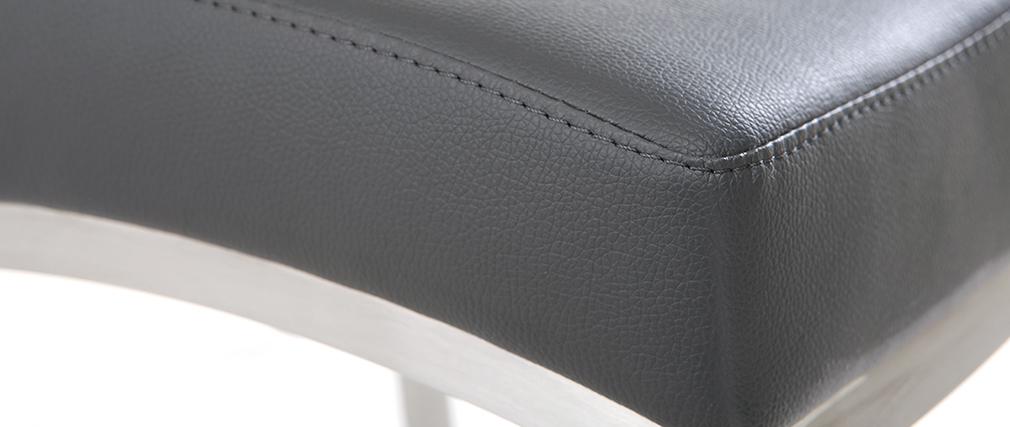 Sgabello da bar alluminio spazzolato PU grigio scuro 66cm set di 2 OLLY