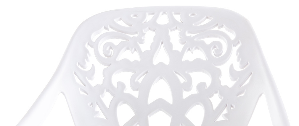 Sgabello da bar design barocco bianco BAROCCA