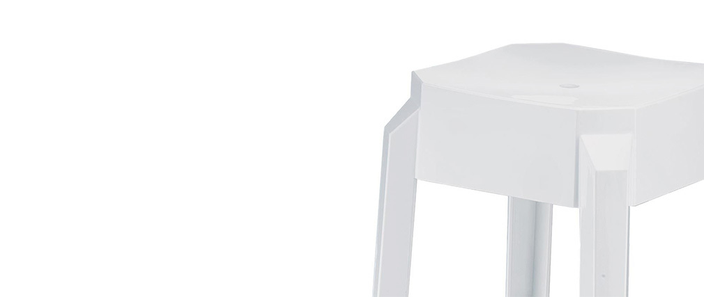 Sgabello da bar design bianchi 75cm coppia di 2 CLEAR
