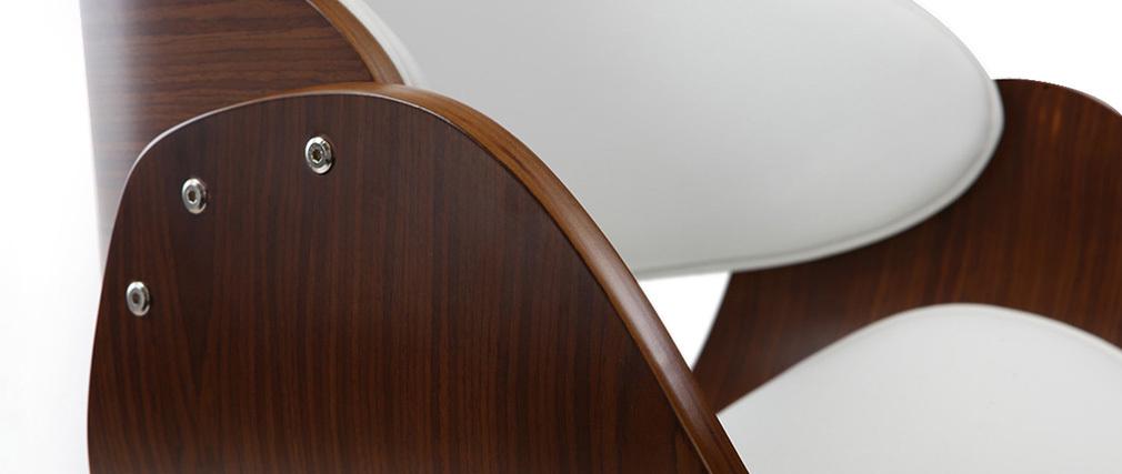 Sgabello da bar design bianco e legno BENT