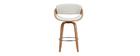 Sgabello da bar design bianco e legno chiaro 65 cm BENT