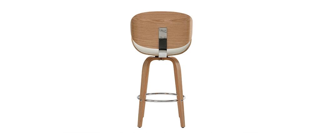 Sgabello da bar design bianco e legno chiaro 65 cm WALNUT