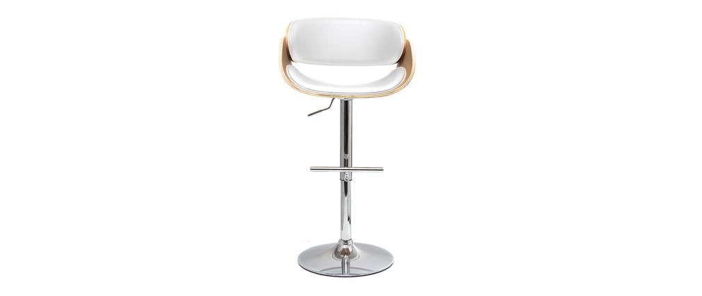 Sgabello da bar design bianco e legno chiaro BENT