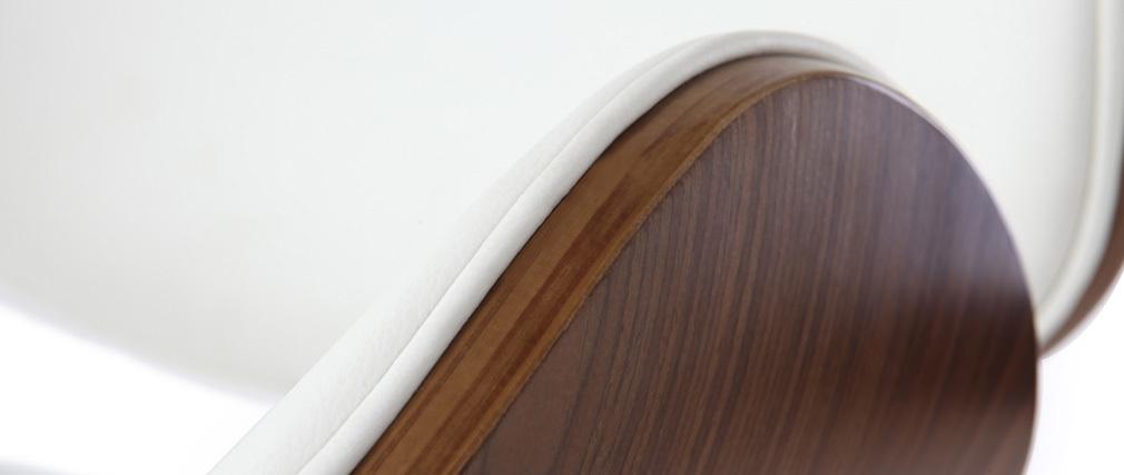 Sgabello da bar design bianco e legno WALNUT