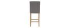 Sgabello da bar design capitonato grigio chiaro e legno 65cm gruppo di 2 ESTER