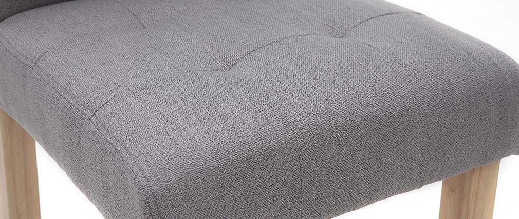 Sgabello da bar design capitonato grigio chiaro e legno 65cm set di 2 ESTER
