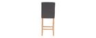 Sgabello da bar design capitonato grigio scuro e legno 65cm set di 2 ESTER