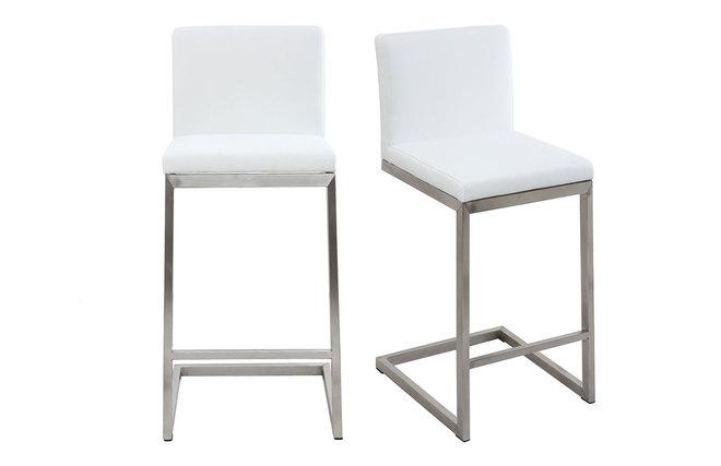 Sgabello da bar design contemporaneo alluminio e pu bianco gruppo