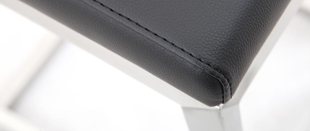 Sgabello da bar design contemporaneo - alluminio e PU nero set di 2 STELLAR