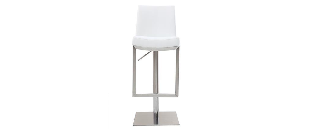 Sgabello da bar design contemporaneo - metallo e PU bianco - KYLE