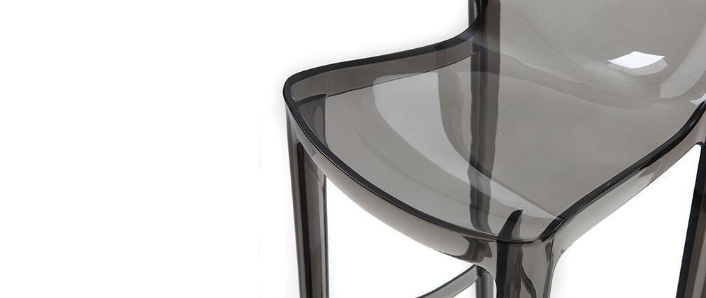 Sgabello da bar design grigio fumé gruppo di 4 YLAK