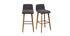 Sgabello da bar design grigio scuro e legno gruppo di 2 ULRIK