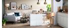 Sgabello da bar design in tessuto grigio e legno BENT