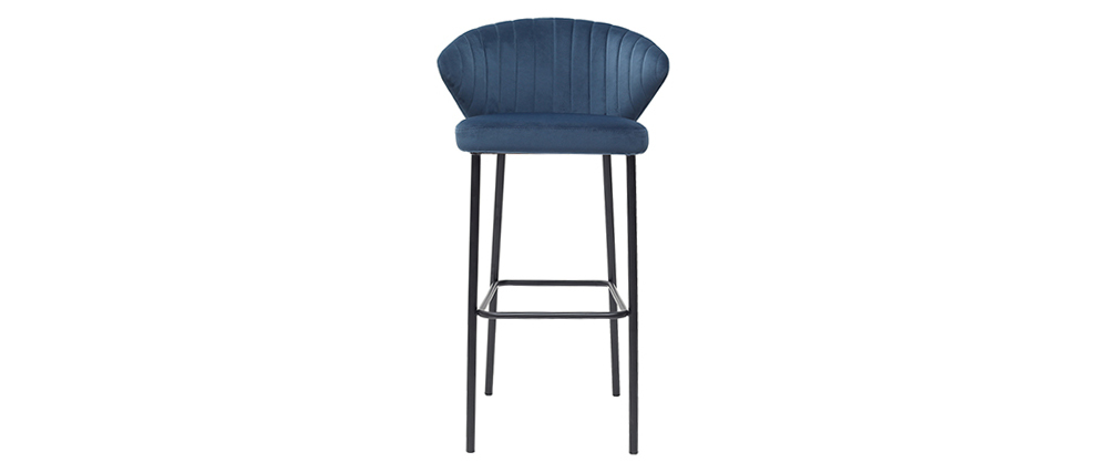 Sgabello da bar design in velluto blu 75 cm DALLY