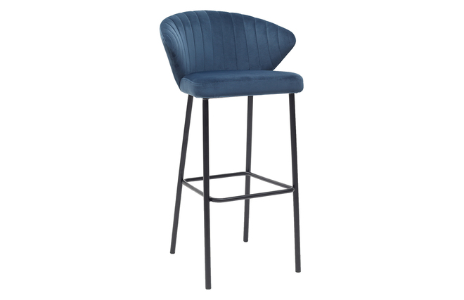 Sgabello da bar design in velluto blu 75 cm dally miliboo