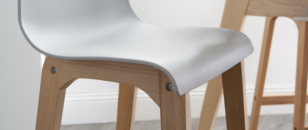 Sgabello da bar design legno e grigio chiaro 65cm set di 2 NEW SURF