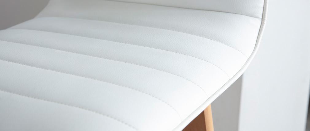 Sgabello da bar design legno e similpelle bianco 65cm gruppo di 2 EMMA