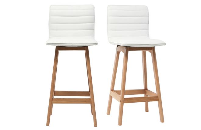 Sgabello da bar design legno e similpelle bianco cm gruppo di
