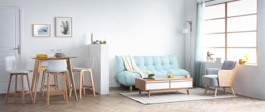 Sgabello da bar design legno e similpelle bianco 65cm set di 2 EMMA