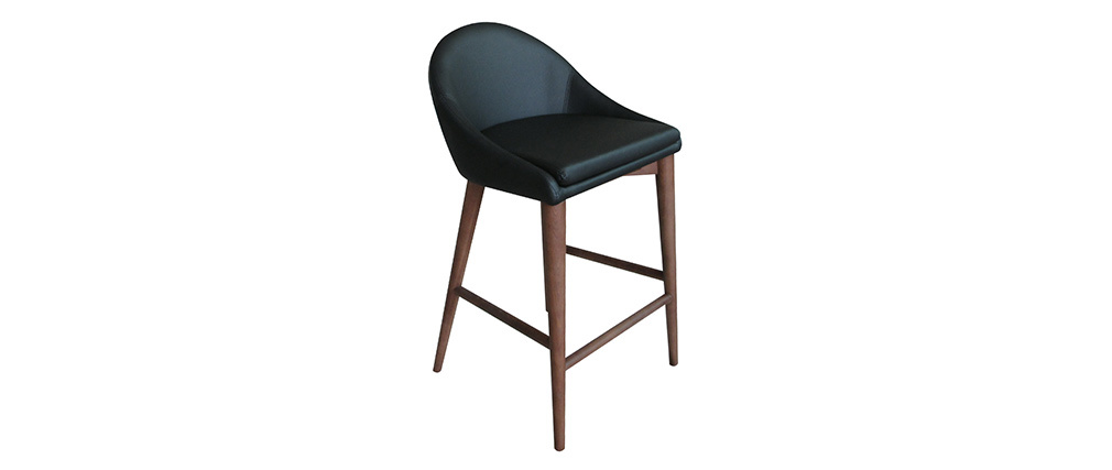 Sgabello da bar design legno PU nero 65cm DALIA