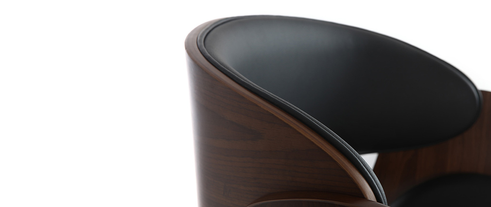 Sgabello da bar design nero e legno BENT