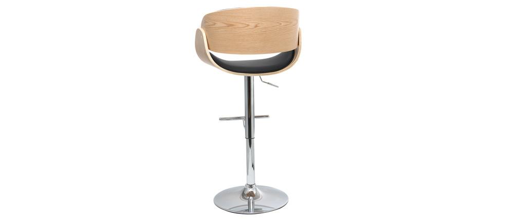 Sgabello da bar design nero e legno chiaro BENT