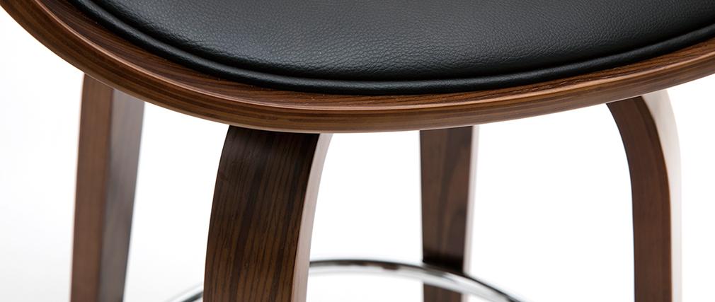 Sgabello da bar design nero e legno scuro 65 cm BENT