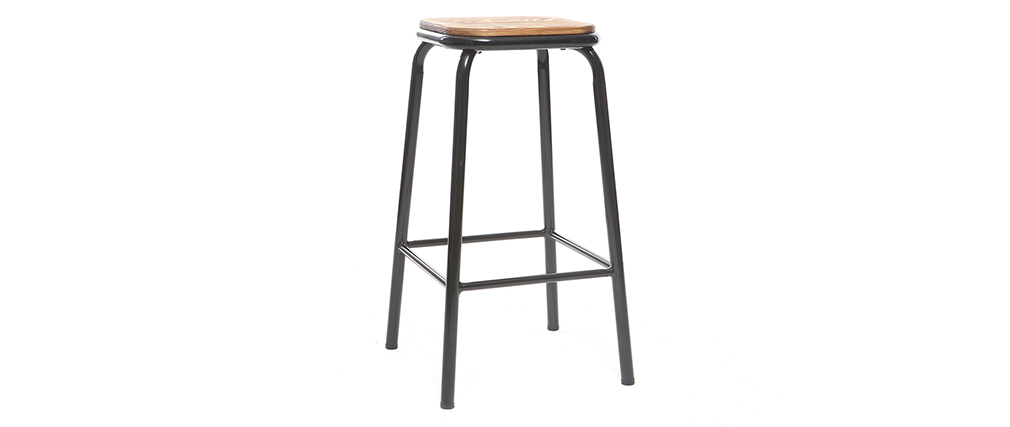 Sgabello da bar design Nero e legno scuro 65 cm lotto di 2 MEMPHIS