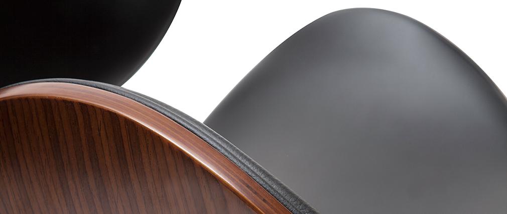 Sgabello da bar design nero e legno scuro 65 cm WALNUT