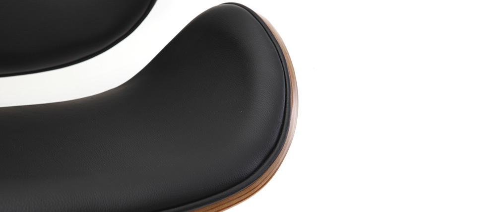 Sgabello da bar design nero e legno WALNUT