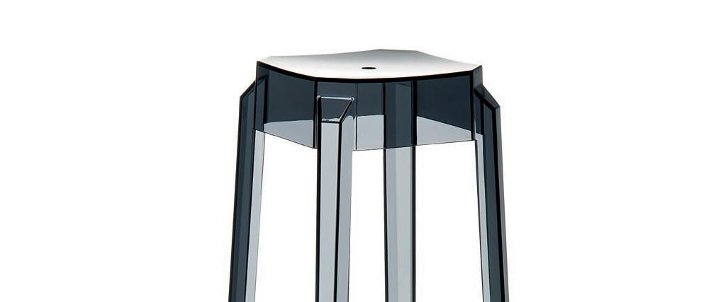 Sgabello da bar design nero trasparente 65cm coppia di 2 CLEAR
