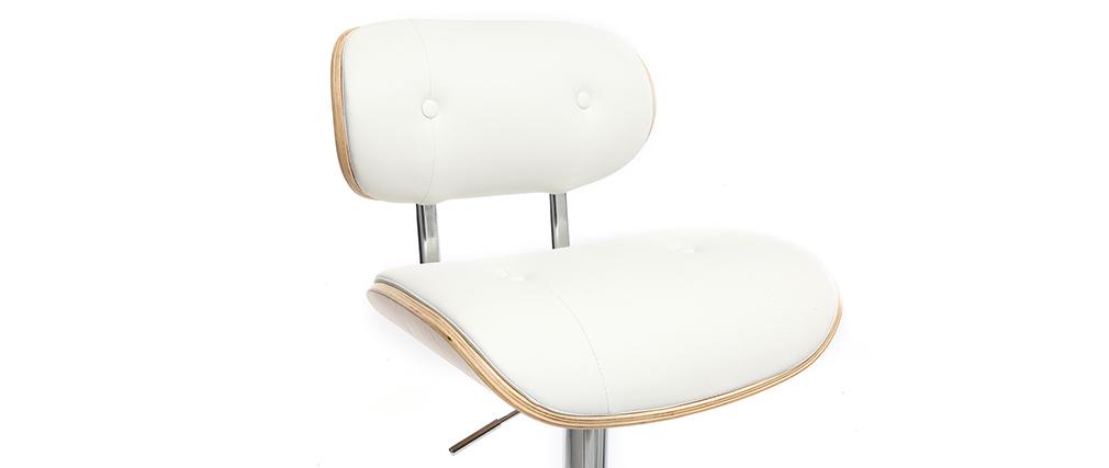 Sgabello da bar design poliuretano Bianco e legno chiaro MARTY
