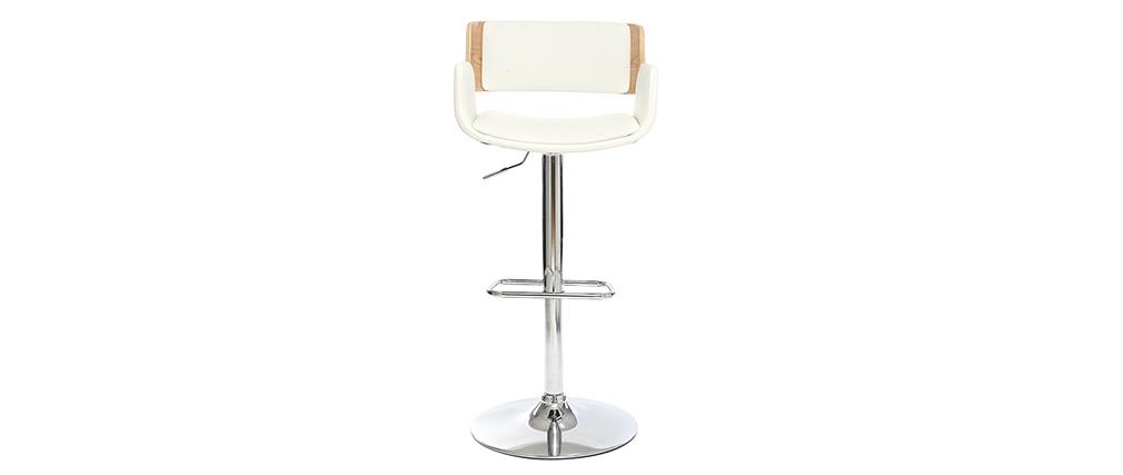 Sgabello da bar design poliuretano Bianco e legno chiaro RAY
