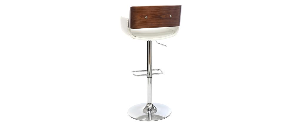Sgabello da bar design poliuretano Bianco e legno scuro RAY