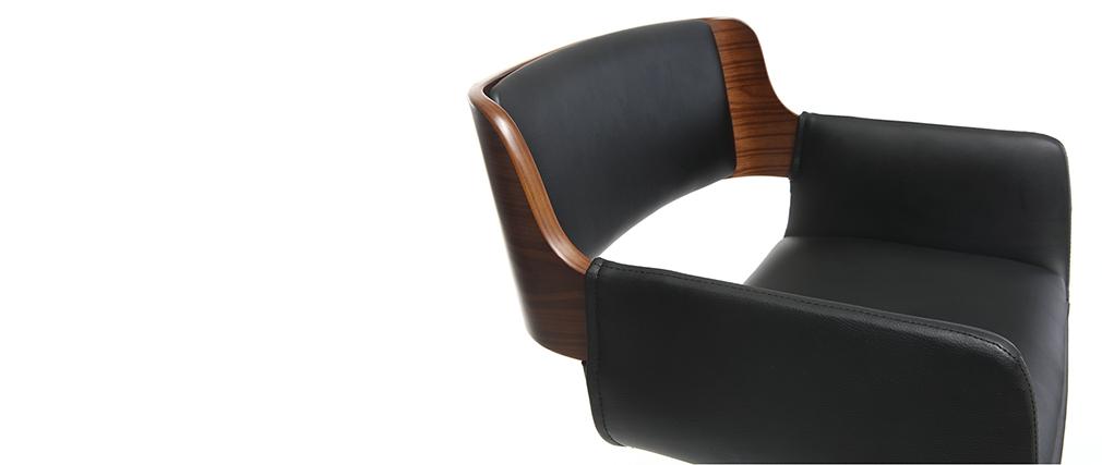 Sgabello da bar design poliuretano Nero e legno scuro RAY