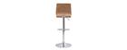 Sgabello da bar design regolabile bianco e legno chiaro DELICACY