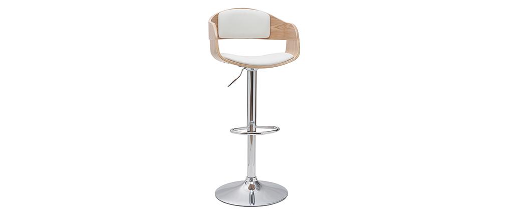 Sgabello da bar design regolabile bianco e legno chiaro EUSTACHE